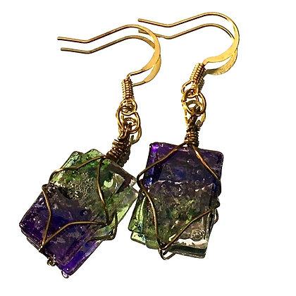 Purple & Green Small Earrings