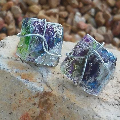 Green, Blue &  Purple Post Earrings
