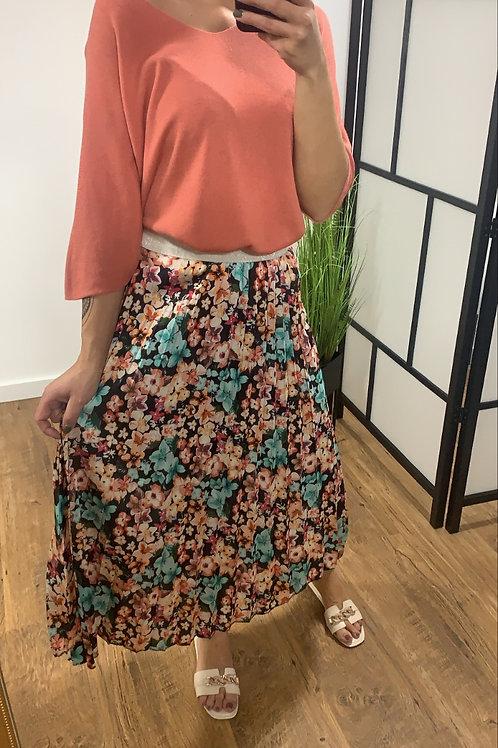 Lange rok met bloemetjes