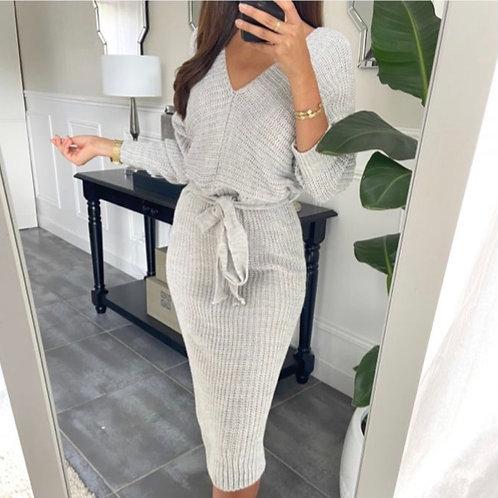Grijze jurk mesh met riem