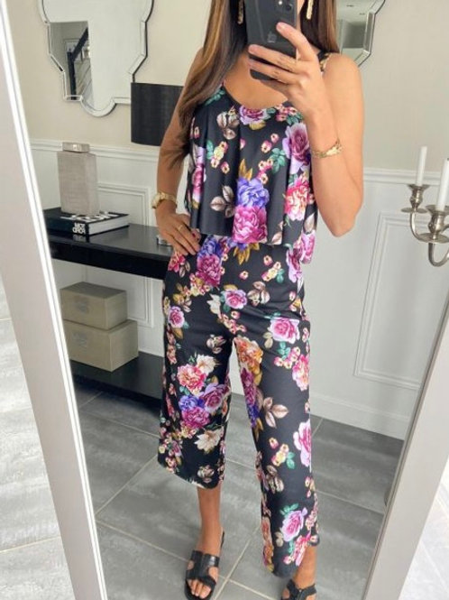jumpsuit flowers black
