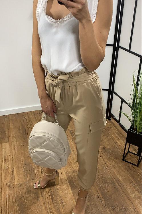 Broek hoge taille beige