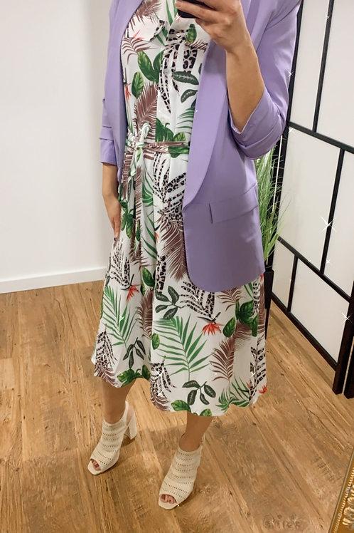 Lange shirt jurk Tropische wit