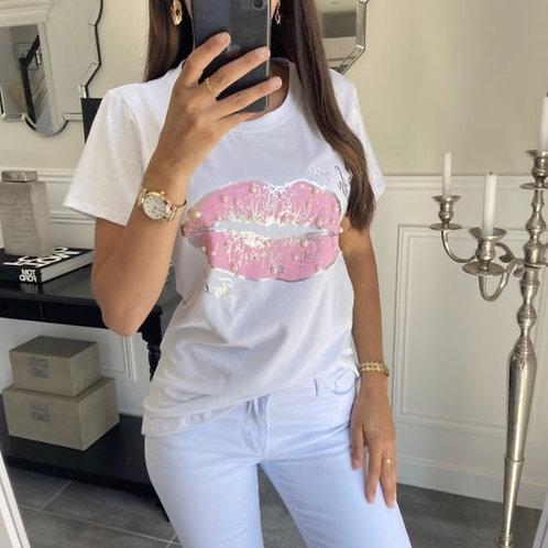 T-shirt lip met kralen