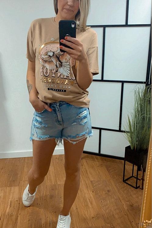 T-shirt - Eagle - Beige - Camel - Grey