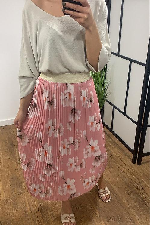 Lang gebloemde rok in Roze