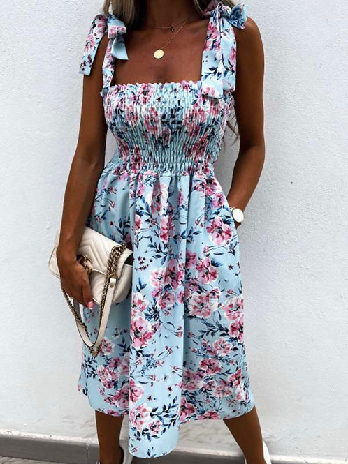 Flower dress - bleu