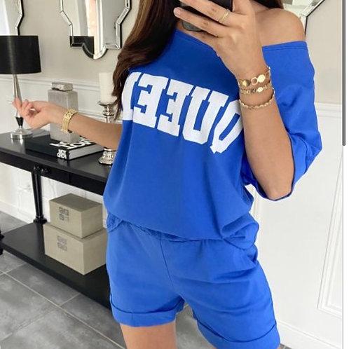 Setje short + shirt royal blauw