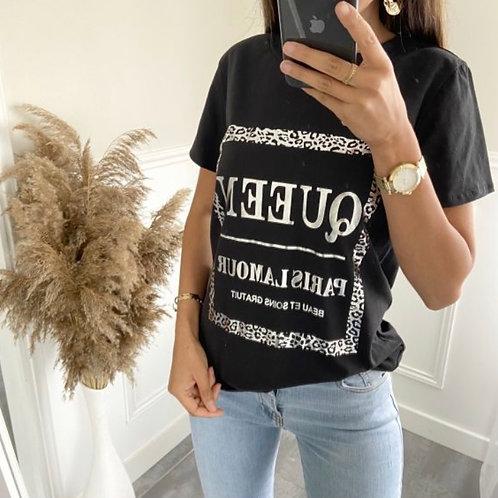 T-shirt Queen Zwart