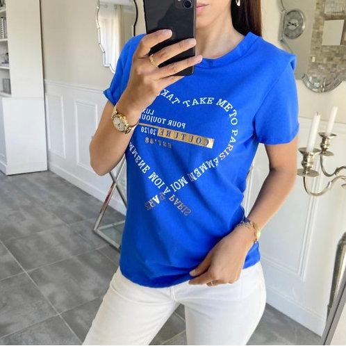 T-shirt paris koraalblauw