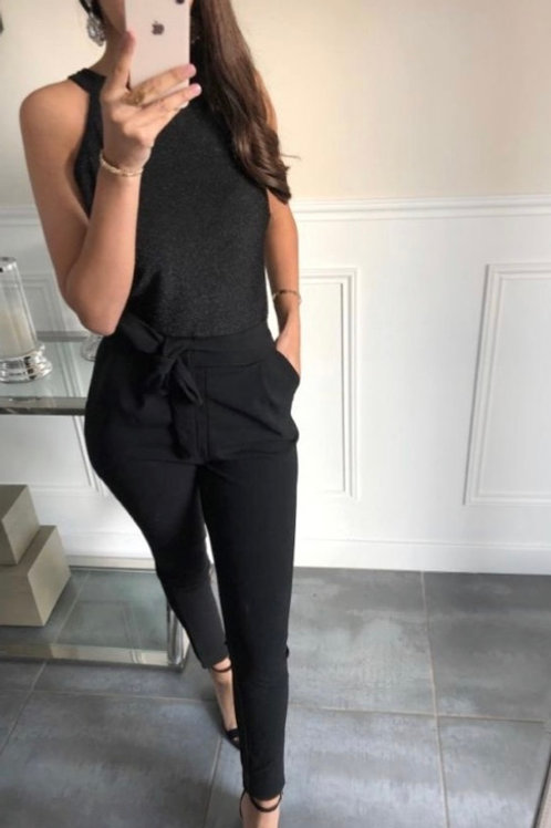 Playsuit met glitter top zwart
