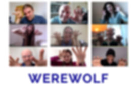 A group of people posing as werewolves on a video call and the word Werewolf.