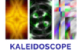 The word Kaleidoscope beneath three panels with brightly coloured geometric, symmetrical and abstract shapes.