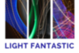 The words Light Fantastic beneath three panels with curved lines of light of various colours.