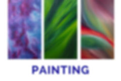 The word Painting below three panels of swirling colours made from paint.
