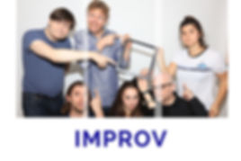 The Word Improv and a group of people pulling faces and pointing.