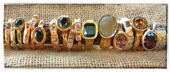 artisan druzy gold and silver diamond rings