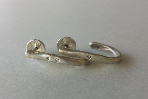 Captain Hook - Silver with Diamonds Narrow