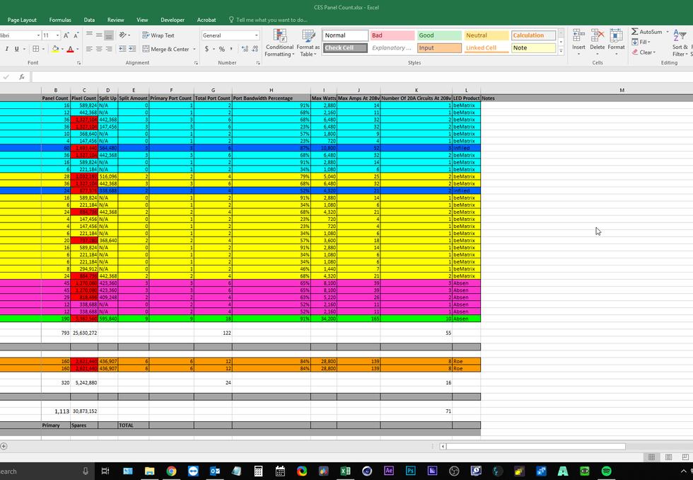 Spreadsheet Of LED Info