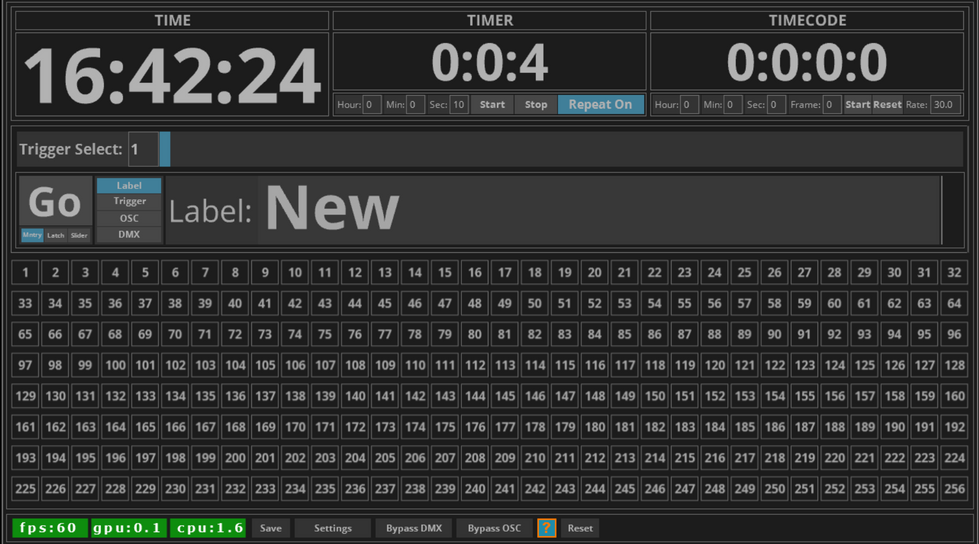 Trigger will Trigger events based upon either the Time Of Day, a Timer, or Timecode. These Triggers will output OSC and DMX values. There are a total of 256 Triggers on this app.