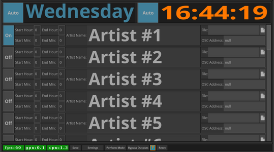 Whos Up is a Stage to FOH Artist organizing helper tool. Whos Up will automatically trigger Artists names, logos, or content when their scheduled time is active, Or, You can manually trigger which Artist is up in case of any scheduling changes on the fly.