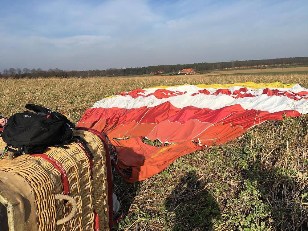 Landung des Heißluftballons bei Ibbenbüren
