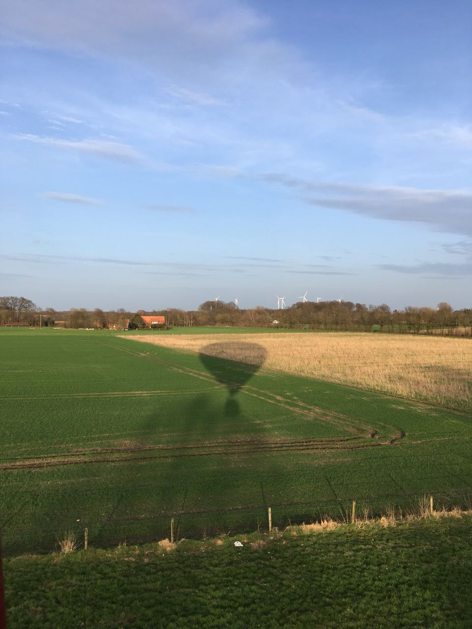 Kurz vor der Landung mit dem Heißluftballon im Münsterland