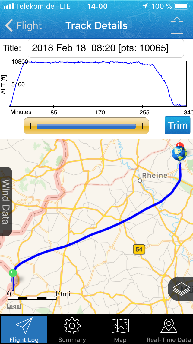 Track der Ballonfahrt