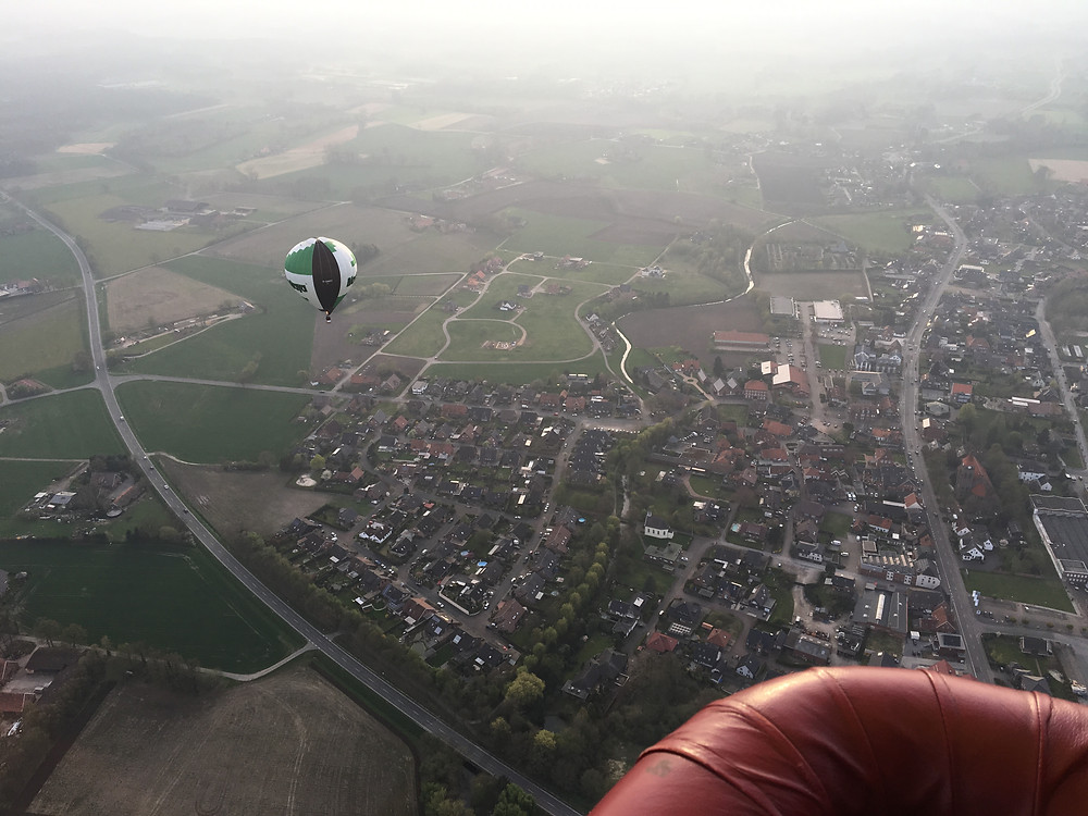 Blick aus dem Ballon hoch über Südlohn-Oeding