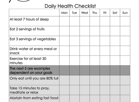 Daily Health Checklist: A Tool For Success