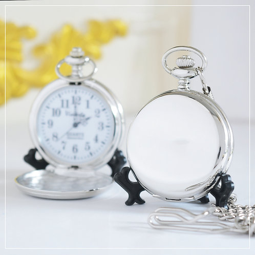 Glossy Silver-Color Japan Quartz Pocket Watch