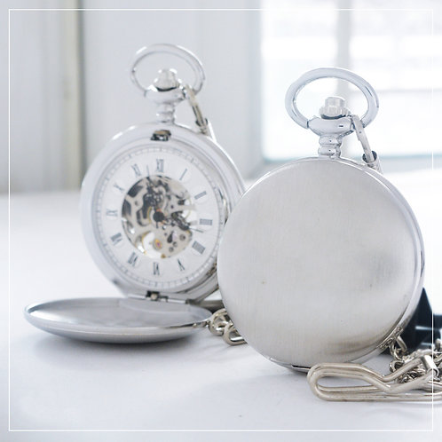 Matt Silver Mechanical Pocket Watch (Double Hunter)
