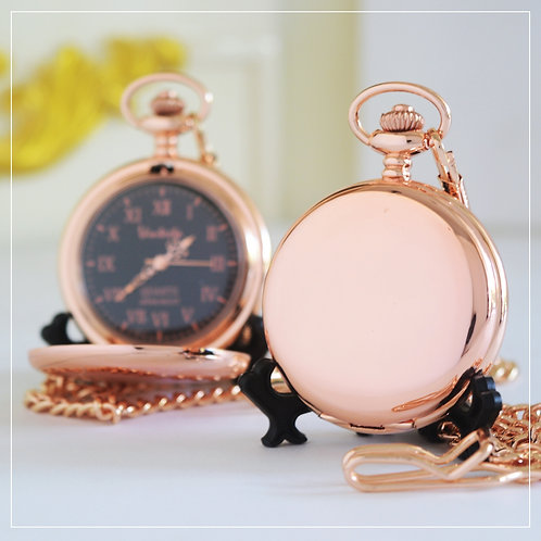 Rose Gold-Color Japan Quartz Pocket Watch