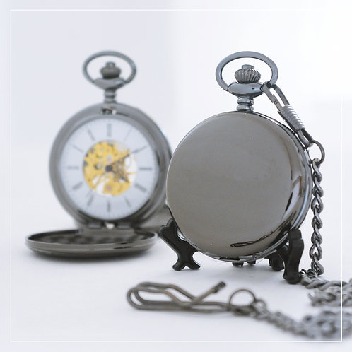 Black Mechanical Pocket Watch (Double Hunter)