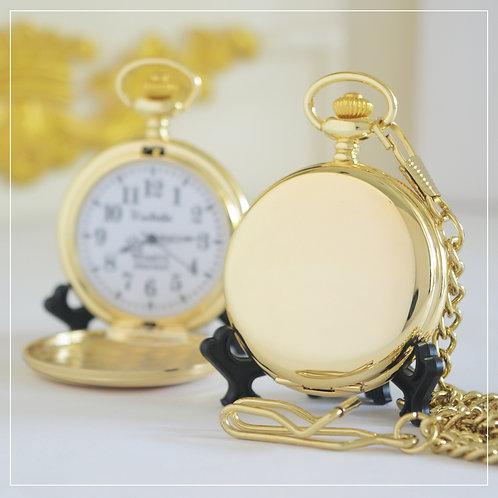 Gold-Color Japan Quartz Pocket Watch