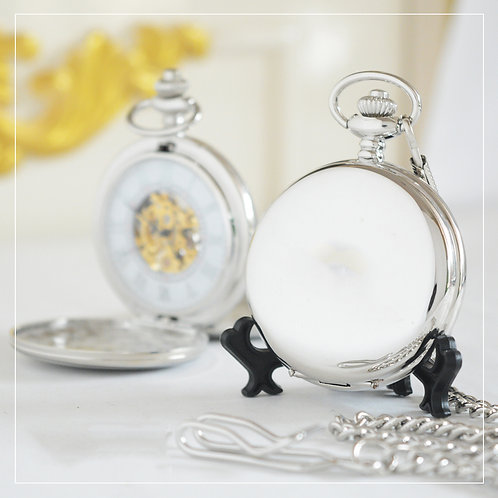 Silver-Color Mechanical Pocket Watch (Double Hunter)