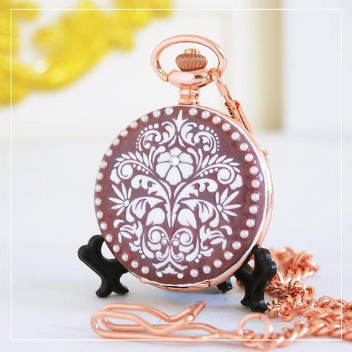 Royal Red Damask Pocket Watch, Elegant Hand-crafted Gift