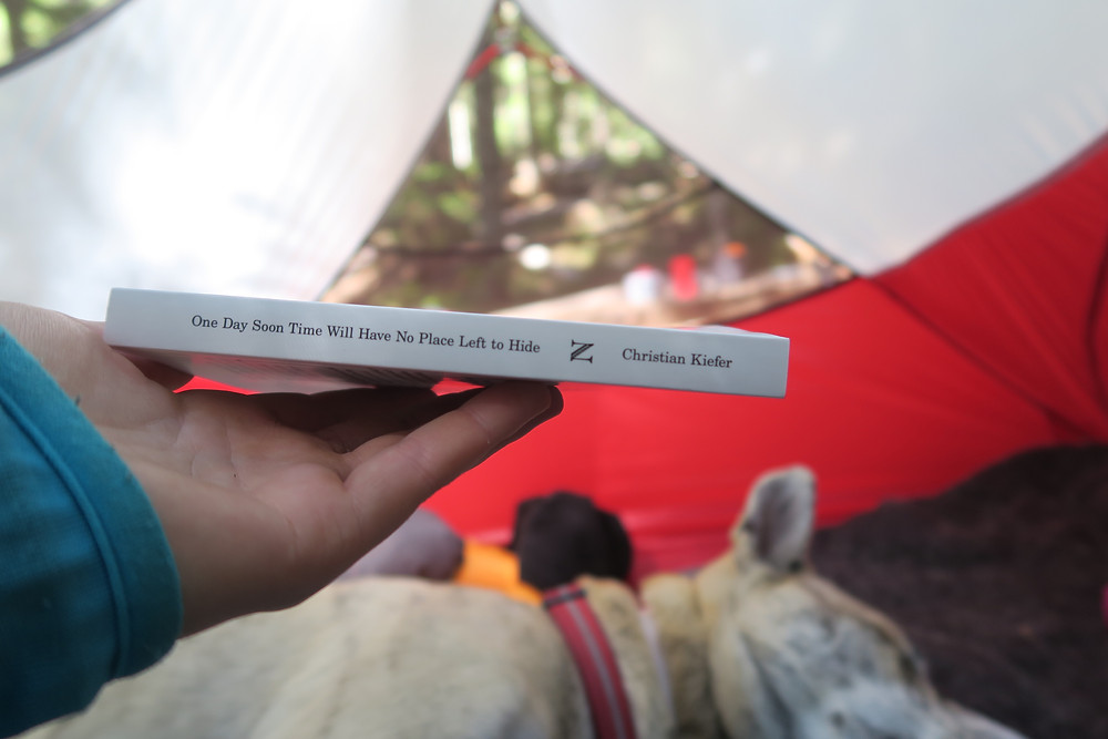 A pale hand holds a book flat so the spine is visible, Out of focus in the background is a sleeping dog and a tent.