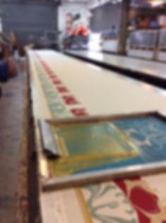 Hand screen printing on fabric