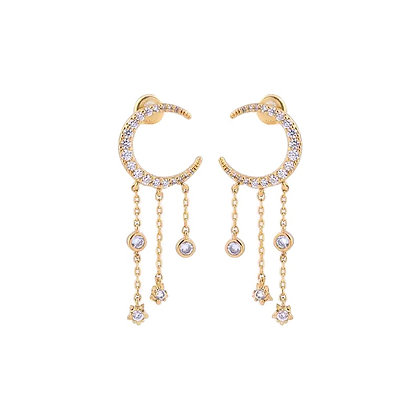 Gold Plated Star Moon Drop Earrings