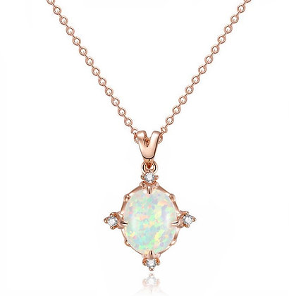 Rose Gold Plated Fire Opal Necklace