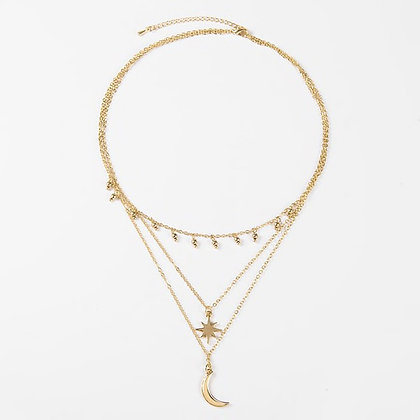 Gold Plated Miami Moon Star Necklace