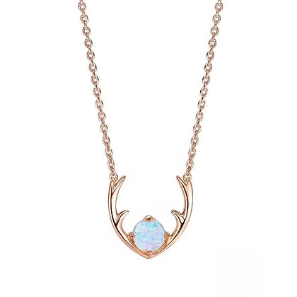 Rose Gold Plated Opal Reindeer Necklace