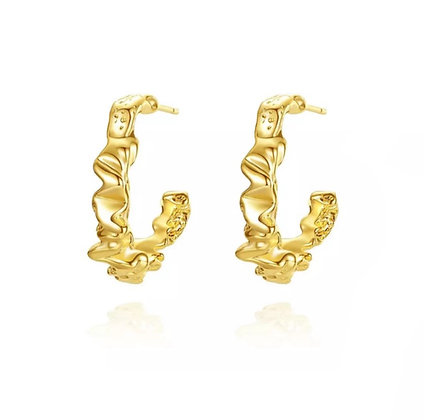 Gold Plated Smashed Hoop Earrings