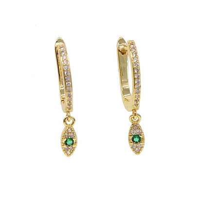 Sterling Silver Green Eye Hoop Earrings