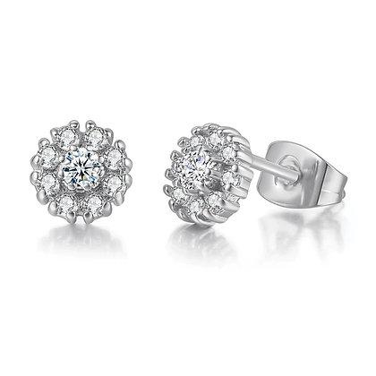 Tiny Flower Silver Stud Earrings