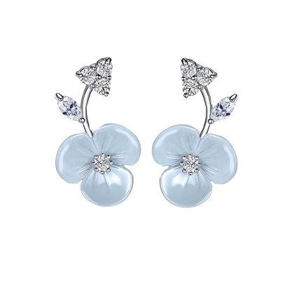 Sterling Silver Blue Flower Earrings