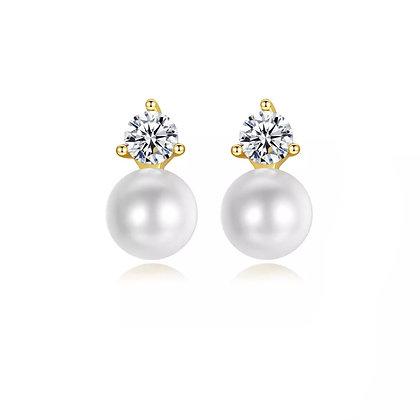 Gold Plated Elle Pearl Stud Earrings