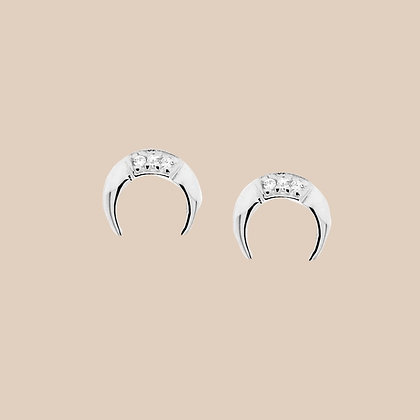 Sterling Silver Tiny Horn Stud Earrings