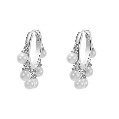 Silver Plated Pearl Hoop Earrings